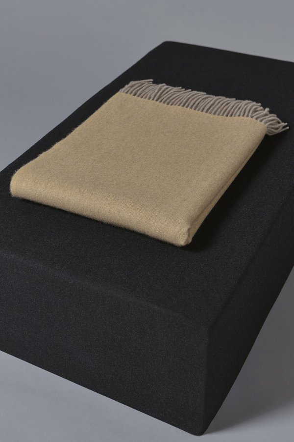 Oyuna Uno Classic Fringed Two-Tone Cashmere Throw - Ochre/Taupe