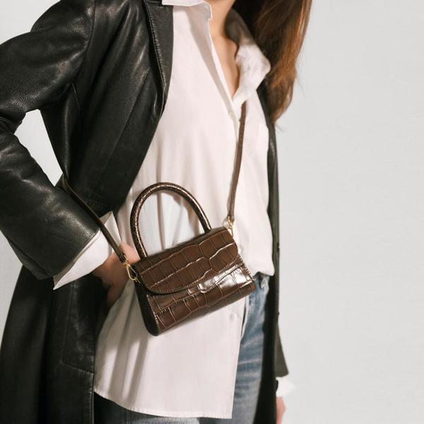 45897836 BY FAR Mini Croco Embossed Leather Bag - Nutella   Garmentory