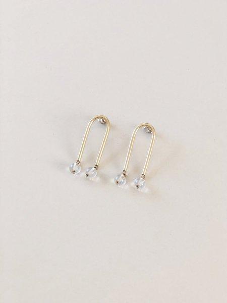 Artifacts Mini Arch Earrings - Brass/Quartz