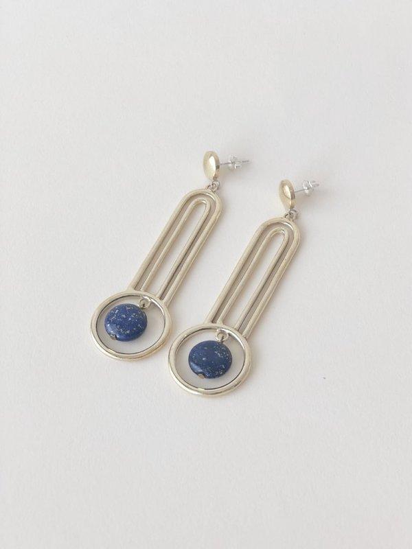 Artifacts Orbit Earrings - Brass/Lapis