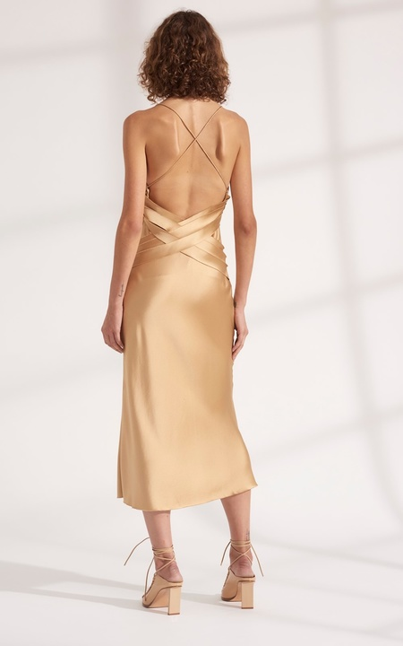 Dion Lee Bias Weave Cowl Dress - Sand