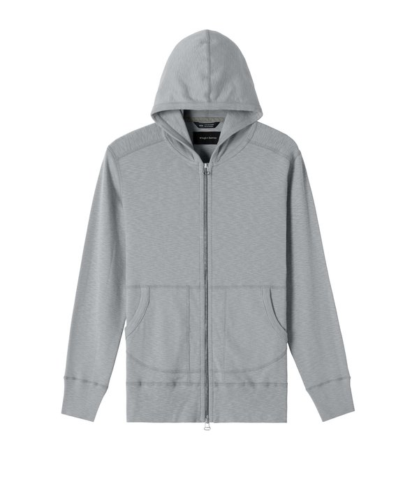 Wings+Horns 1x1 Slub Hooded Pullover - Haze