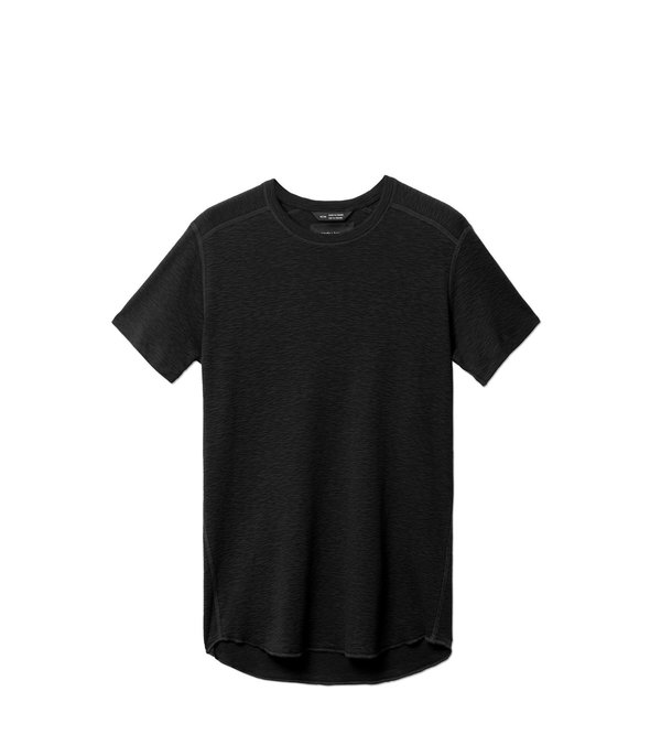 Wings+Horns 1x1 Slub Rib SS Crew - Black