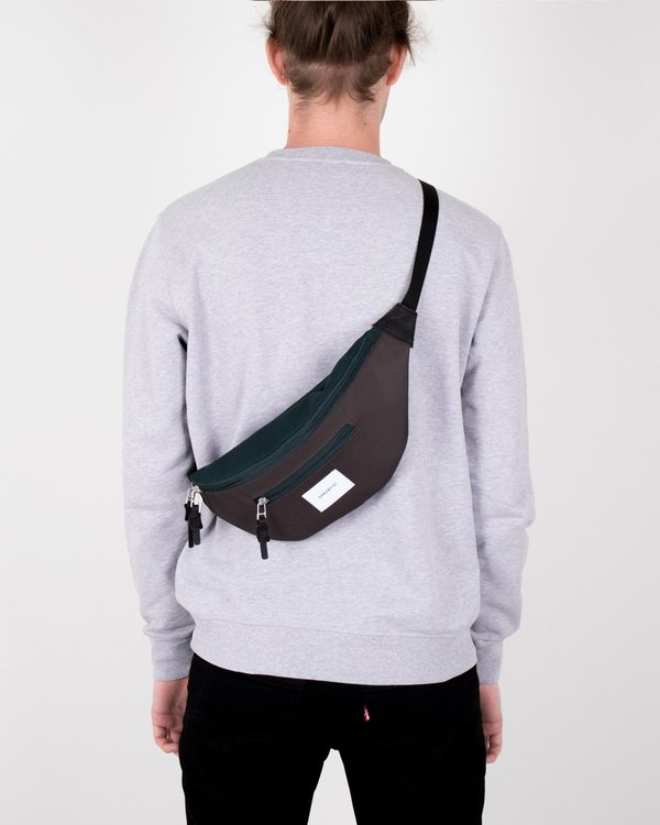 Unisex Sandqvist Aste Bum Bag - Multi Deep Green/Dark Grey