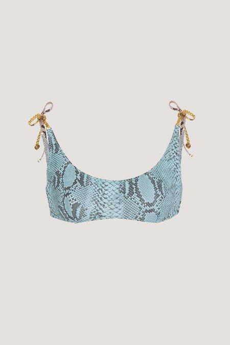 STELLA MCCARTNEY Timeless Snakeskin Bikini Top - Eggshell Blue