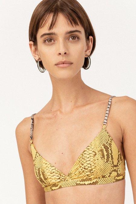 STELLA MCCARTNEY Timeless Snakeskin Bikini Top - Yellow