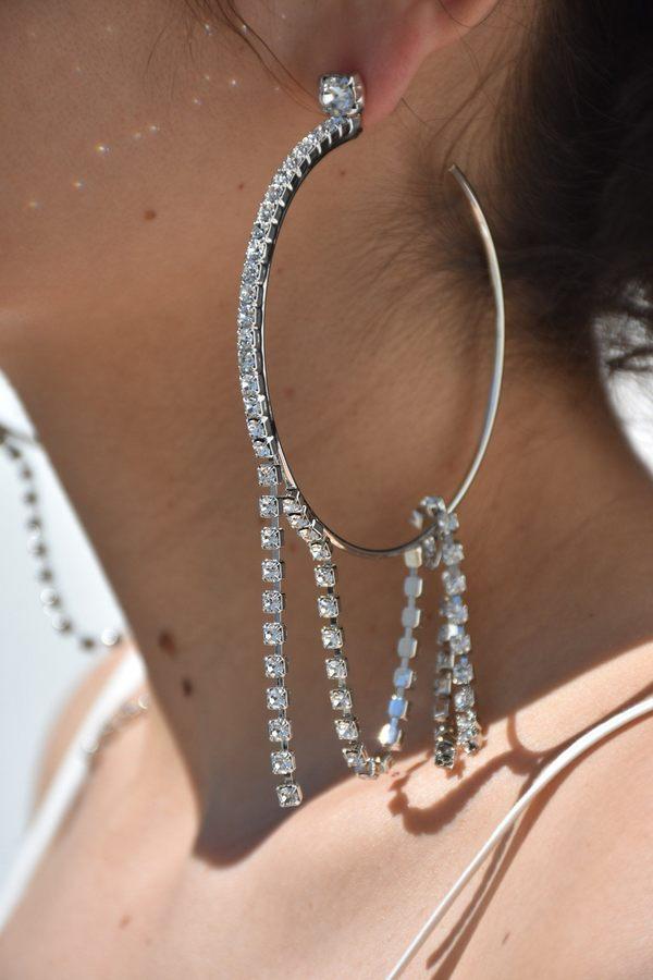 db263241fa4bc Joomi Lim Large Hoop Earrings with Crystal Fringes - Rhodium/Crystal