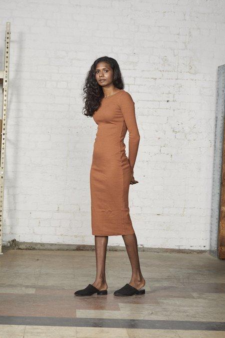 Lois Hazel Rib Dress - Terracotta