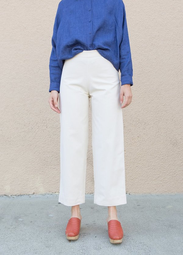 Ali Golden Side Zip Pant - Bone