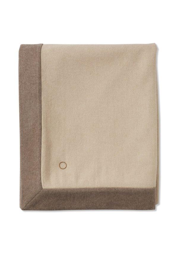 Oyuna Etra Heavyweight Timeless Luxury Cashmere Throw - Cream/Melange Taupe