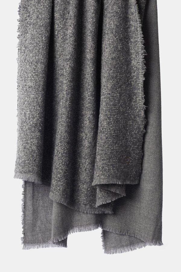 Oyuna Kalo Woven Textured Cashmere/Wool Throw - Slate Grey