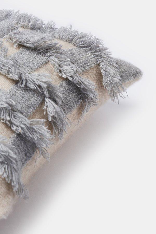 Oyuna Seren Cashmere Cushion Cover - Beige/Soft Grey
