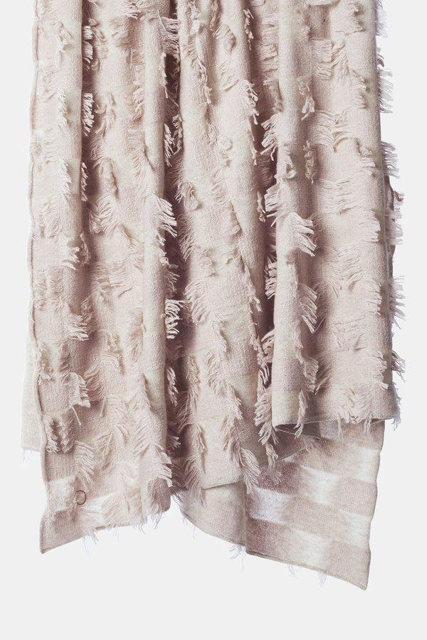 Oyuna Seren Knitted Hand Cut Fringed Cashmere Throw - Beige/Blush