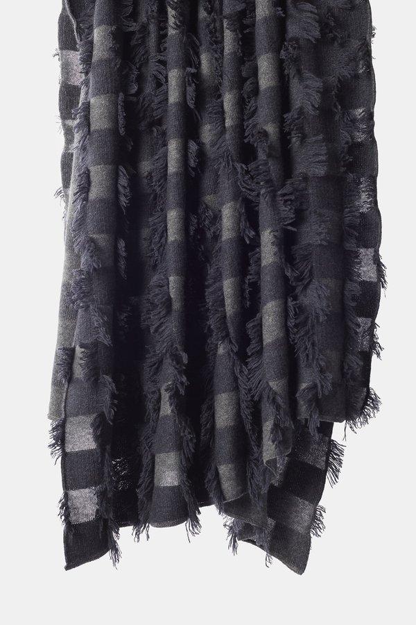 Oyuna Seren Knitted Hand Cut Fringed Cashmere Throw - Slate Grey/Indigo