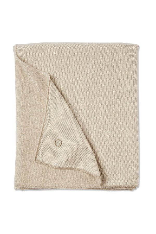 Oyuna Tano Textured Woven Cashmere Throw - Beige/Ivory