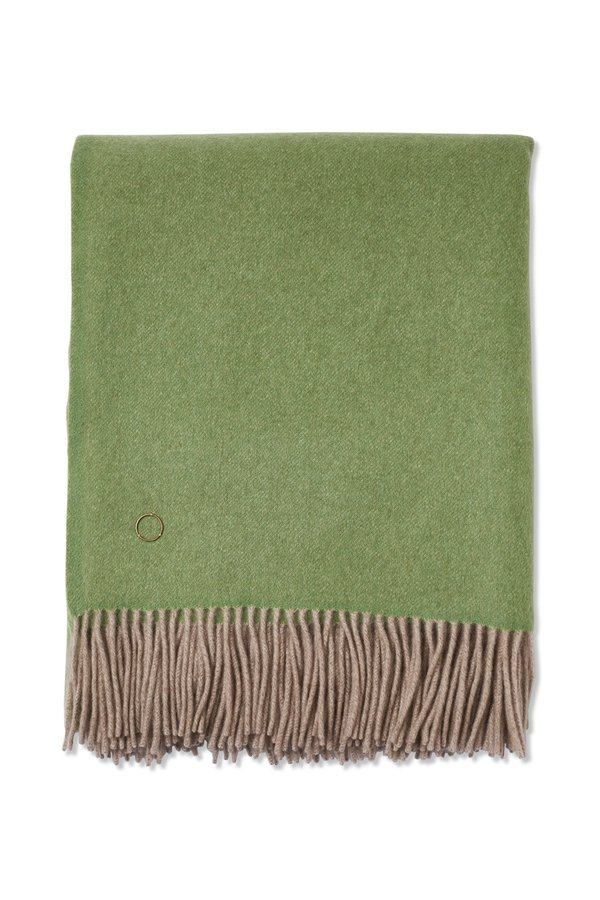 Oyuna Uno Classic Fringed Two-Tone Cashmere Throw - Green/Taupe