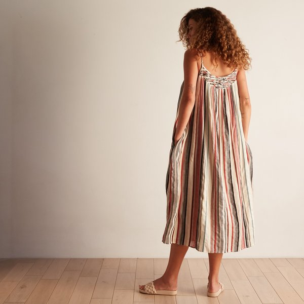 The Odells Lattice Yoke Dress - Puglia