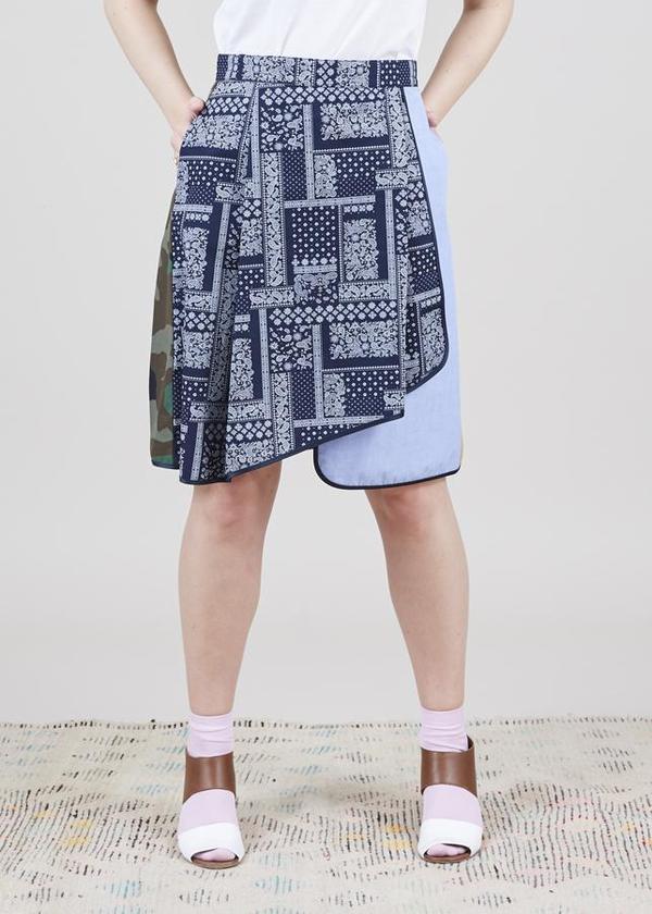 Harvey Faircloth Asymmetric Mixed Media Skirt - bandana/multi
