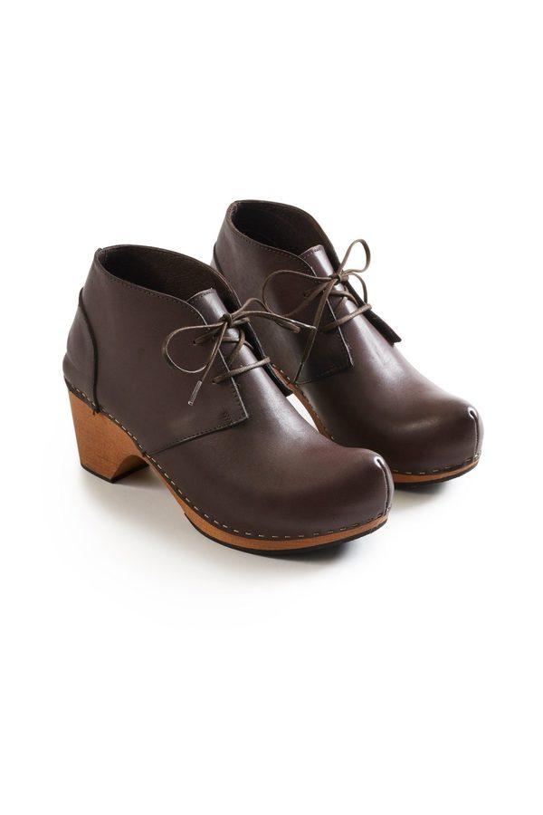 Lisa B. toe seam leather bootie clogs - dark brown