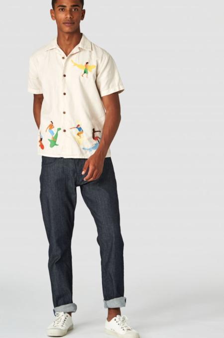 Unisex Kings Of Indigo Embroidered Summer Surf Shirt - Ecru