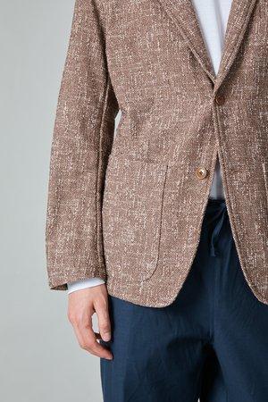 TSS Summer Cotton Tweed 2B Peak Lapel Jacket - Brown