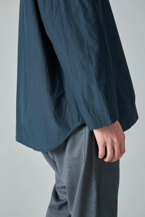 TSS Cotton Silk Micro Faille Henley - Navy