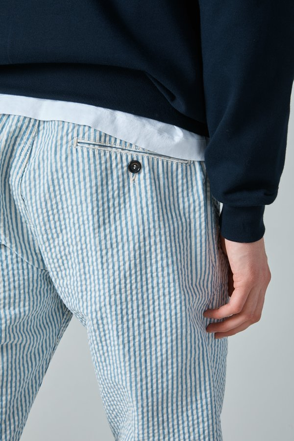 Presidents Japanese Seersucker Tripoli Trouser - White/Blue