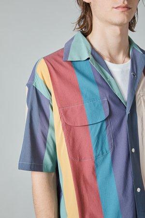 TSS Baggy Shirt - Navy/Multicolor Stripe
