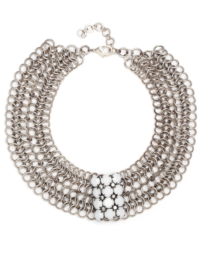 0f72773e3eabe Paula Rosen Pearl And Rhinestone Collar Necklace