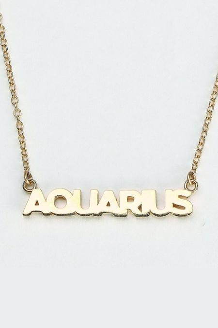Thatch Zodiac BlockFront Script Necklace