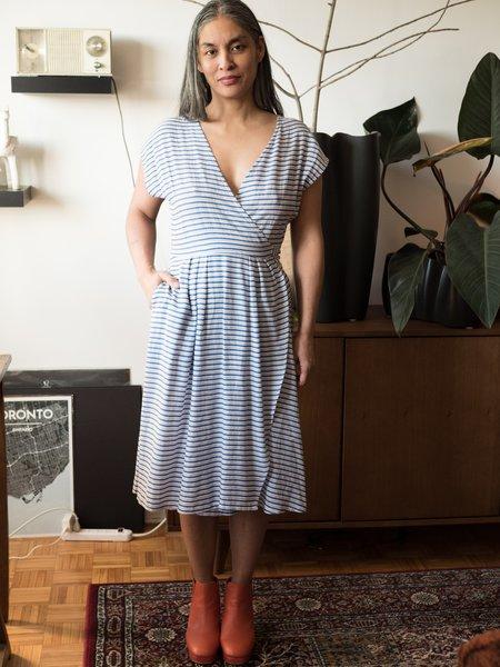 Dagg & Stacey Brock Wrap Dress - blue/white