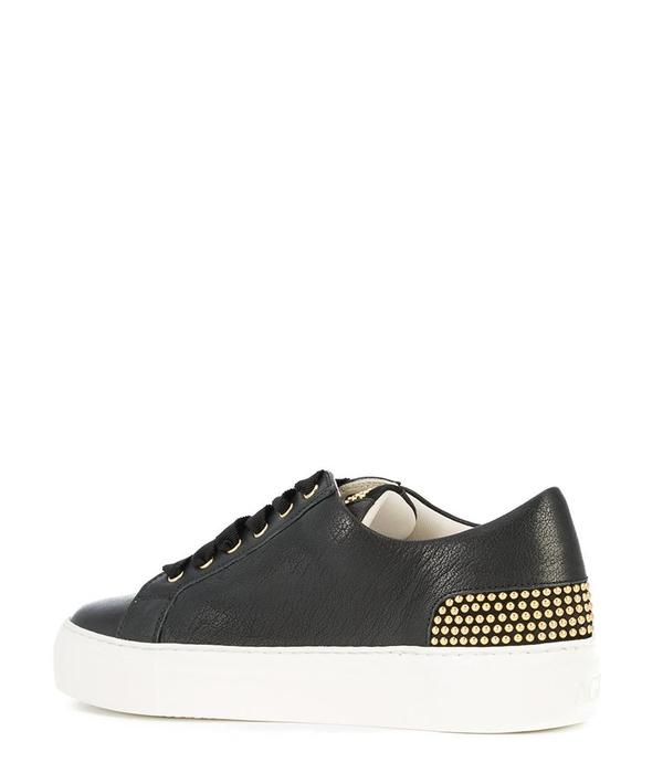 AGL Leather Lace-Up Round Toe Sneaker with Gold Studs - Black