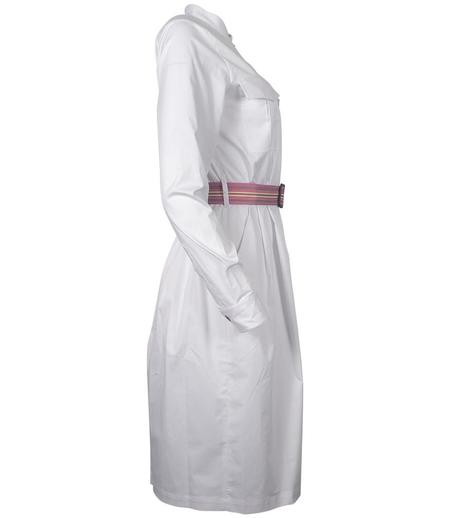 Caliban Belted Shirt Dress - White