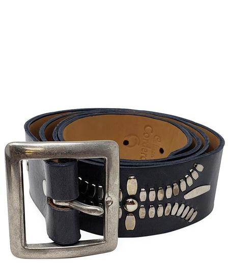 """Calleen Cordero Leather Dominic 1.5"""" Belt - Navy"""