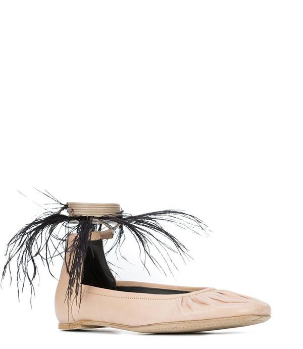Corda Ballerina Flats with Ankle Tie Feather Detail - Corda