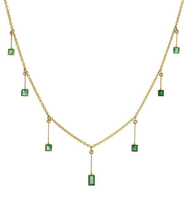 Indigo Unveiled Emerald Choker - 14k Gold
