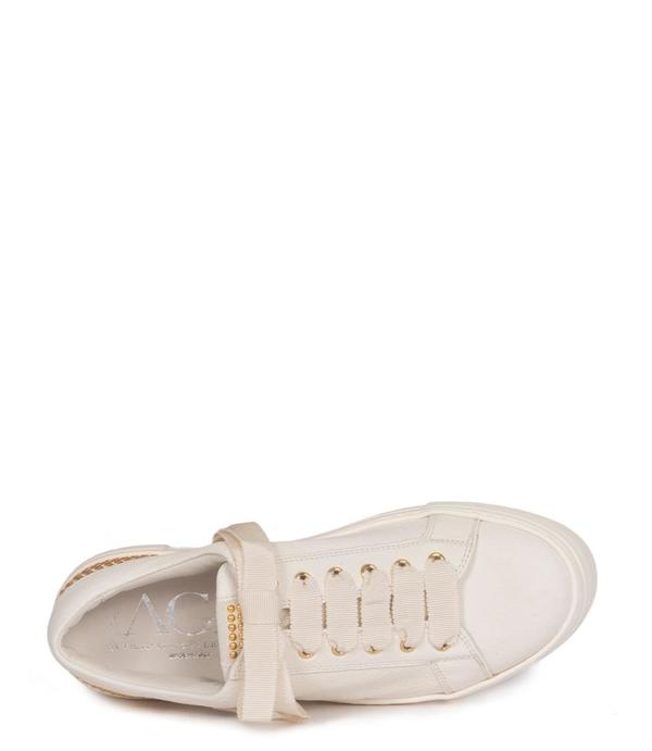 AGL Leather Lace-Up Round Toe Sneaker with Gold Studs - white