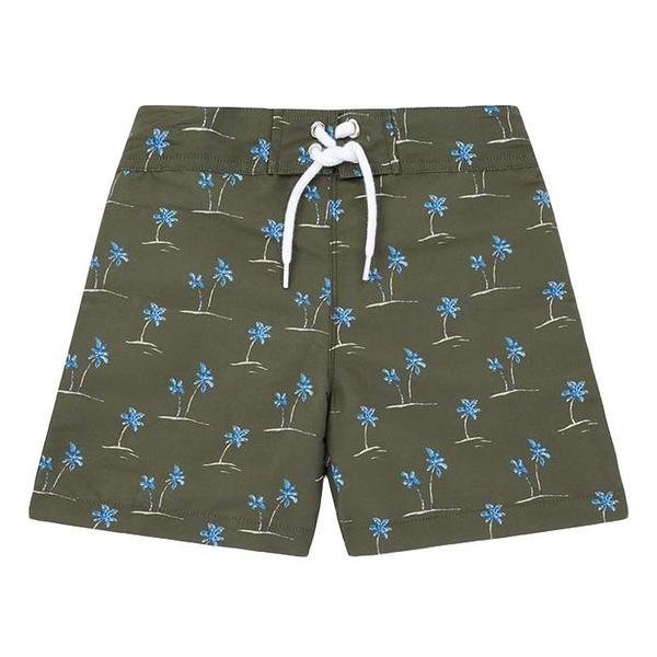 KIDS Bonton Triton Swim Shorts - Green With Palm Tree Print