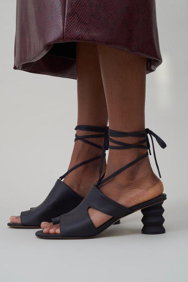 Nomia Twyla Lace Up Mule - Matte Black