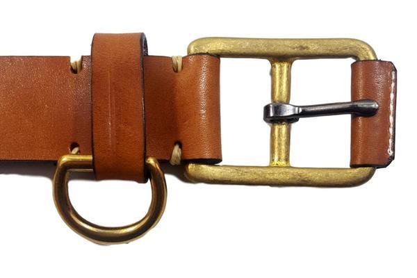Yuketen Stitched D-Ring Belt - Buck Brown