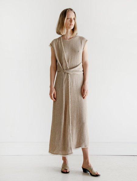 Dusan Linen Wrap Dress - Herringbone