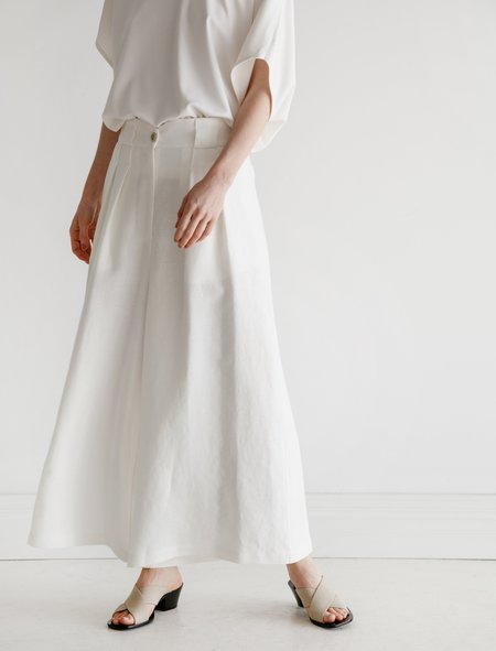 Dusan High Waisted Linen Pants White