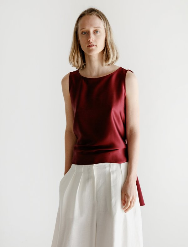 Dusan Washed Satin Tie Top - Tibetan Red