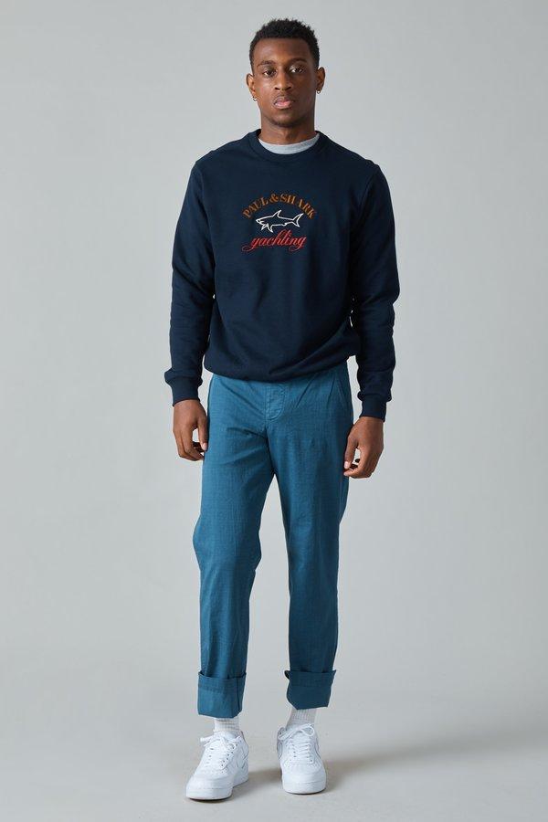 TSS Garment Dyed Textile Print Cotton Military Pants - Blue