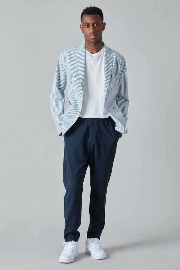 Presidents Japanese Seersucker Liam Blazer - White/Blue