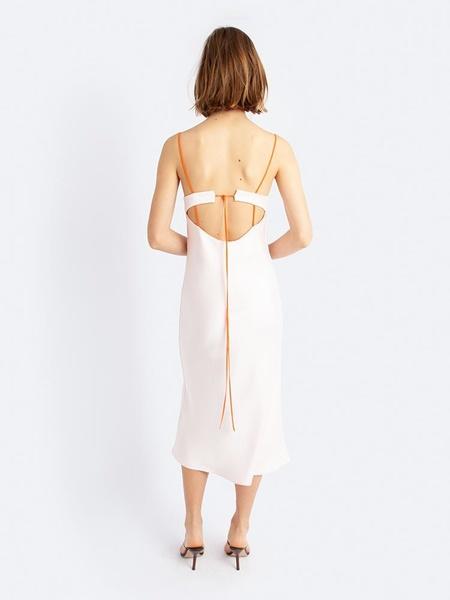 Christopher Esber Lattice Laced Tie Back Dress - Washed Rose