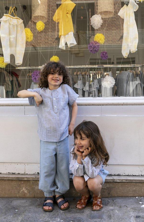 Kids Unisex Ketiketa Eole Kurta Top - Light Blue Stripe