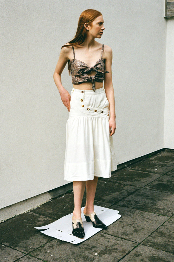 House Of Sunny Rustic Button Down Skirt - Sand