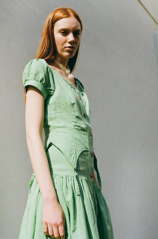 House Of Sunny Rustic Cold Shoulder Dress - Garden Green