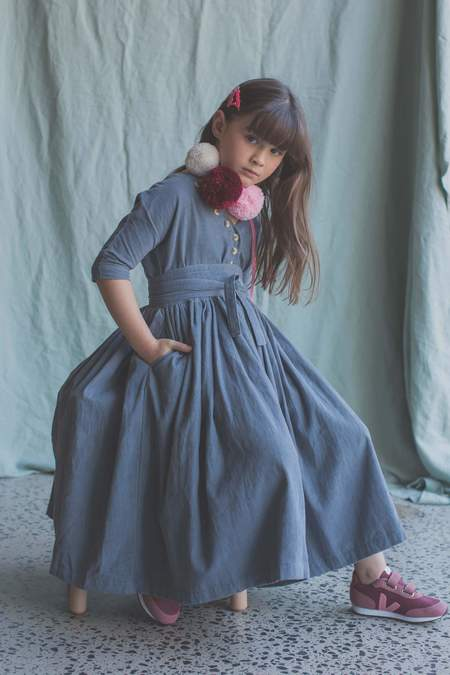 Kids Feather Drum Layne Dress - Bluemoon